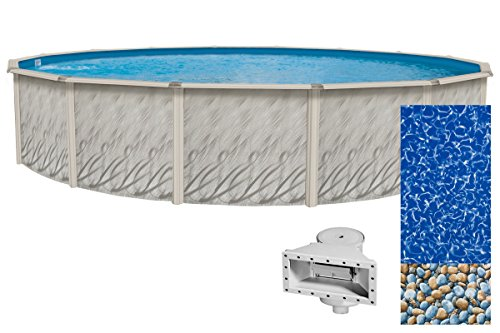 Wilbar Meadows Reprieve 24-Foot Round Above-Ground Swimming Pool | 52-Inch Height | Resin Protected Steel-Sided Walls | Bundle with Bedrock Pattern 25 Gauge Overlap Liner and Widemouth Skimmer