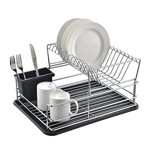 Glanzhaus 2-Tiered Stylish Designed Small Deep Stainless Steel Collapsible Kitchen Dish Drying Rack, Dish Drainer and Black Cutlery Holder with Black Silicone (Steel Deep Dish)