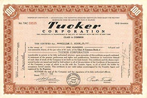 Amazon Com Tucker Corporation Stock Certificate