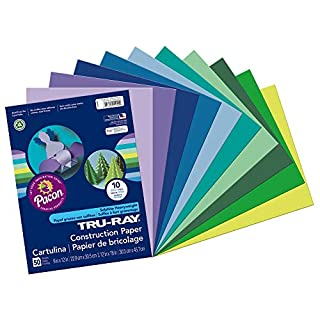 "Tru-Ray Heavyweight Construction Paper, Cool Assorted Colors, 9"" x 12"", 50 Sheets"