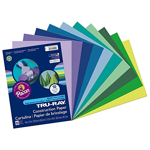 (Tru-Ray Heavyweight Construction Paper, Cool Assorted Colors, 9