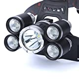 Kinrui 35000 LM 5X CREE XM-L T6 LED Rechargeable Headlamp Headlight Travel Head Torch (Black)