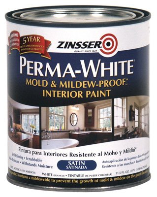 Gentil Zinsser 02704 Quart Satin Gloss Perma White® Mildew Proof Bathroom Paint