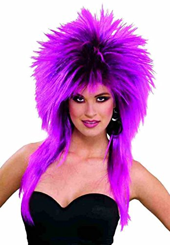 Purple Pizazz Spiked Wig Super Rock Star 80s Adult Costume Accessory Punk