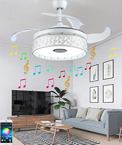- 42in Modern Ceiling Fan with LED Lights Smart Blutooth Speaker Remote Control Multi-function Chandelier Fixtures Retractable Blades Dimmable Colorful Lights Wireless White