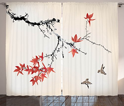 Ambesonne Japanese Curtains, Cherry Blossom Sakura Tree Branches Romantic Spring Themed Watercolor Picture, Living Room Bedroom Window Drapes 2 Panel Set, 108 W X 84 L Inches, Coral ()