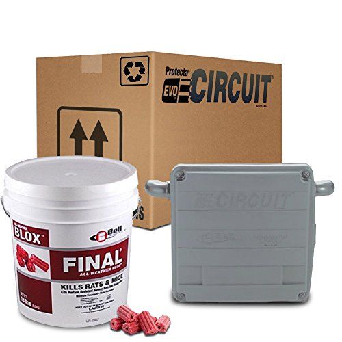Combo Bait Blocks (Protecta EVO Circuit Rat Bait Station 1 Case/ 6 Stations (GRAY) + Final Rat Bait Blox (18lb. Pail) Combo Pack)