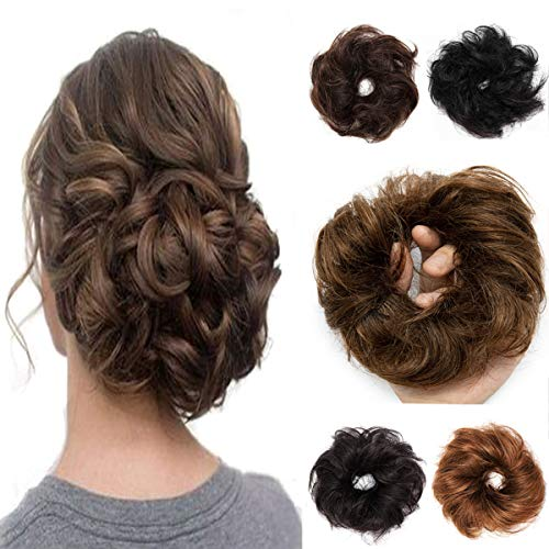 100% Remy Human Hair Up Messy Hair Bun Extension Scrunchie Scrunchy Extensions Hairpiece Do Bun Ponytail Diverse Colors