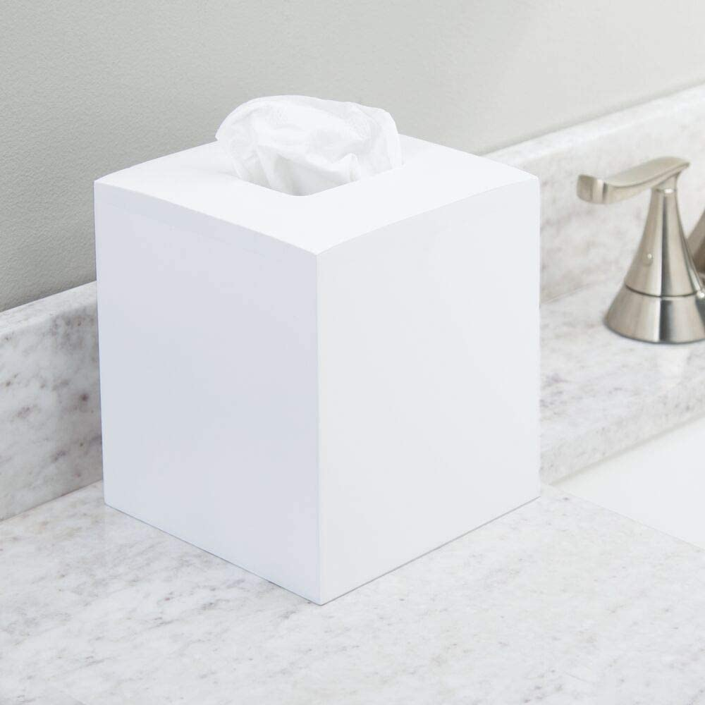 mDesign Square Bamboo Wood Facial Tissue Paper Box Cover Holder for Bathroom Vanity Counter Tops, Bedroom Dressers, Night Stands, Home Office Desks, Tables - White: Home & Kitchen