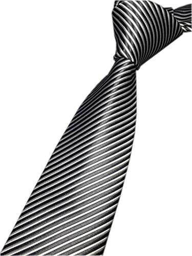 - Striped Black and White Ties Jacquard Daily Meeting Neckties Gift for Husbands