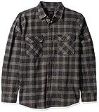 Brixton Men's Bowery Standard FIT Long Sleeve Flannel Shirt, Black/Heather Grey, M