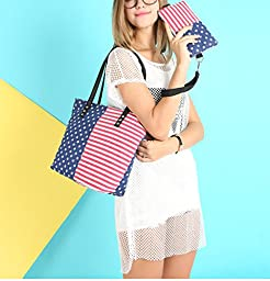 Hoxis Multifunction 2 in 1 American Flag Pattern Canvas Tote Womens Shoulder Handbag with Wristlet (Navy)