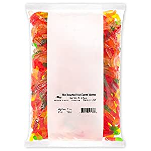 Albanese Candy, Mini Assorted Fruit Gummi Worms, 5-pound Bag