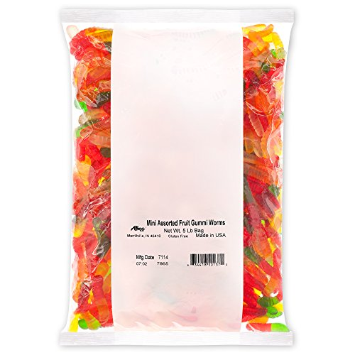 Albanese Candy Mini Assorted Fruit Gummi Worms 5 Pound Bag Gummi Candy, Assorted Flavors: Cherry, Green Apple, Pineapple, Lemon, Orange; Gluten Free Dairy Free Fat Free