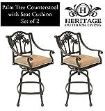 Heritage Outdoor Living Santa Monica Cast Aluminum Barstool - Set of 2 - Antique Bronze