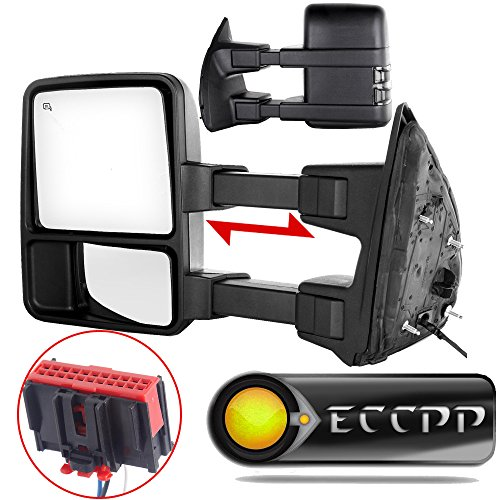 ECCPP Towing mirrors Replacement fit for 2008-2016 Ford F250 F350 F450 F550 Super Duty Black Manual Led Turn Signal Lights Pair Mirrors