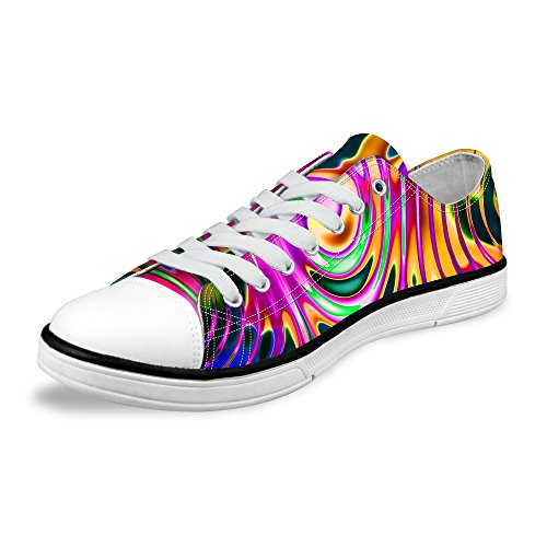 För U Designar Snygga Unisex Rand Wave Print Låg Topp Platta Skor Lätta Mode Sneaker Spets-up Multi A3