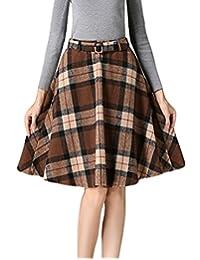 MFrannie Women's Fashion Vintage A Line High Waist Plaid Wool Skirt with Belt