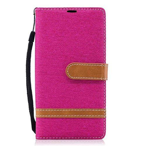 Sony Xperia XA2móvil, cowx funda de piel sintética para Sony Xperia XA2funda Denim rosas rojo