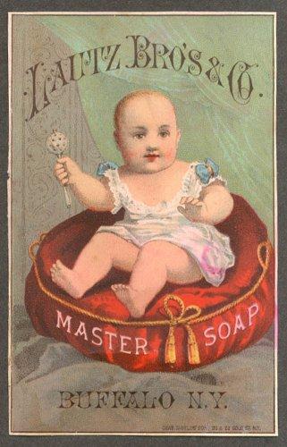 Lautz Bros Master Soap trade card baby cushion Buffalo Douglass & Cowles Oneida