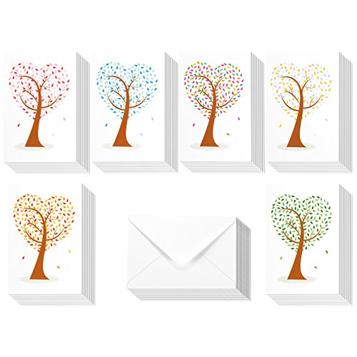 48 Pack All Occasion Assorted Blank Note Cards Greeting Cards Bulk Box Set - 6 Colorful Heart Shaped Tree Designs - Blank on the Inside Notecards with Envelopes Included - 4 x 6 Inches Heart Note Card