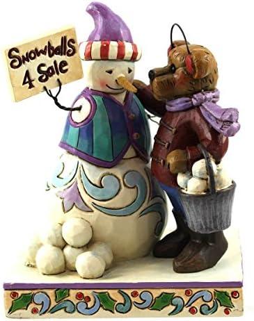 Jim Shore and Boyds Bears Snowman Selling Snowballs Christmas Figurine