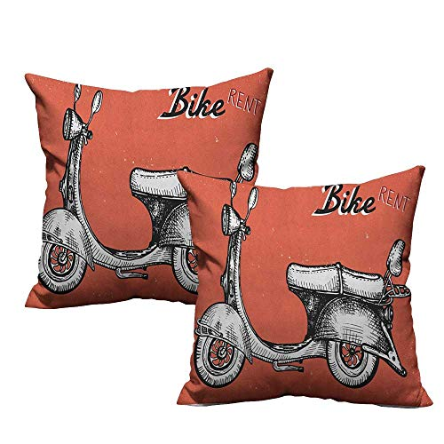 RuppertTextile Personalized Pillowcase Vintage Retro Scooter Sign for Bike Bicycle Rent Classic Grunge Illustration Artwork Suitable for Hair and Skin Health W20 xL20 2 pcs