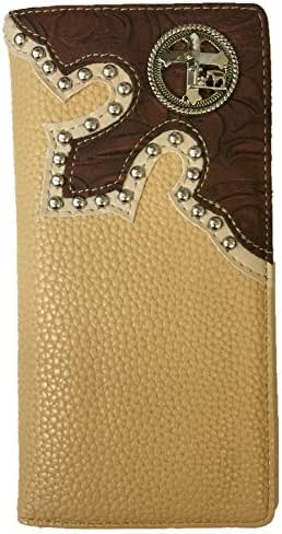 Cross with Cowboy Praying Men Wallet Western Bifold Check Book Style W039-30 Leather Beige