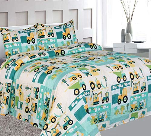 Elegant Home Green Beige Yellow Teal Trucks Tractors Cars Construction Site Design Fun 4 Piece Printed Full Size Sheet Set Pillowcases Flat Fitted Sheet Boys/Kids # Car (Full Size)