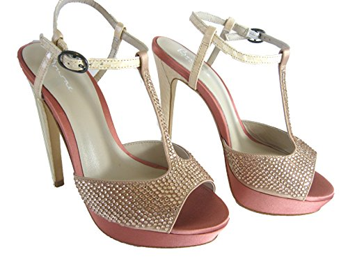 Pink Encrusted Poppy Shoes Women's Bar T Bourne Diamante Bridal Satin 4zxwq6F