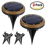 Upgraded Version 2 Pack 8 LED Solar Lights Outdoor, Kungix Pathway Lights Deck Nightlight Path Yard Above Ground Walkway Solar Landscape Lights