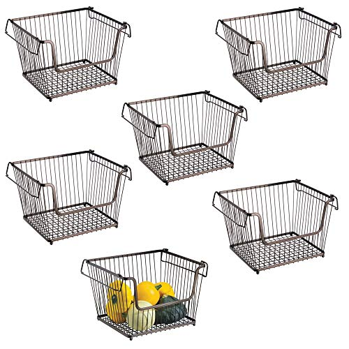Modern Stackable Metal Storage Organizer Bin Basket with Handles, Open Front for Kitchen Cabinets, Pantry, Closets, Bedrooms, Bathrooms - Large, 6 Pack - Bronze