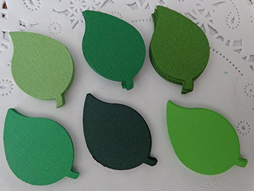 Mixed Green Leaf Paper Die Cuts - Scrapbooking Embellishments - Paper Confetti - Jungle Theme Party Table Scatter (125 Pieces)