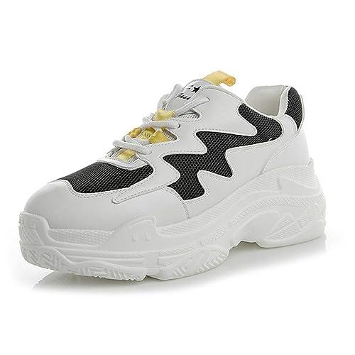 Zapatos De Mujer Zapatillas Zapatos De Plataforma con Cordones Respirables Y Ligeros Zapatillas Blancas Zapatillas De Running Zapatillas Antideslizantes: ...