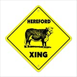 "Hereford Crossing Sign Zone Xing | Indoor/Outdoor | 12"" Tall cow cattle steet farm milk dairy"