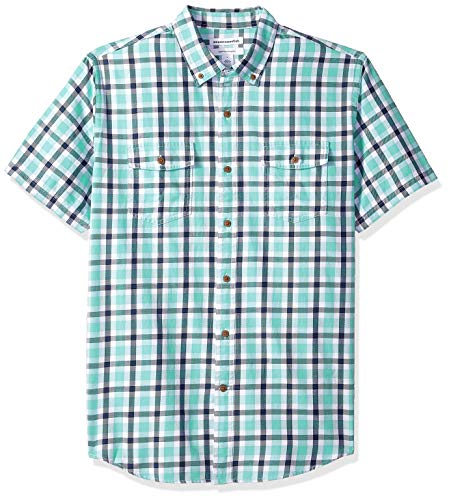 Amazon Essentials Men's Regular-Fit Short-Sleeve Two-Pocket Twill Shirt, Green/Navy Plaid, ()