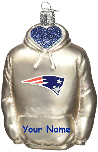 Personalized Officially Licensed Nfl New England Patriots Glittered Hoodie Christmas Ornament With Name