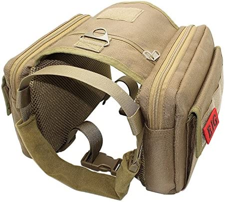 EJG Tactical Dog Harness Vest2 Zipper Pouches Molle System & Velcro Areas No Pulling Design for Service Dogs Military Training Hunting Hiking Backpack Saddlebag for Medium Large Dogs