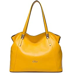 CLUCI Leather Handbags Designer Tote Satchel Shoulder Bag Purse for Women Yellow