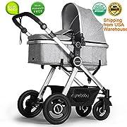 Infant Newborn Stroller Toddler Pram Stroller Folding Convertible Anti-Shock Carriage High View Bassinet Seat luxury Baby Stroller Pushchair Stroller with Footmuff(Grey)