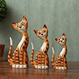 Nordic Wood Painted Carving Cat Three Piece Home Furnishing Decor Garden Style Wine Tv Cabinet Creative Ornaments A Deep Blue Cat,Navy Blue Cat