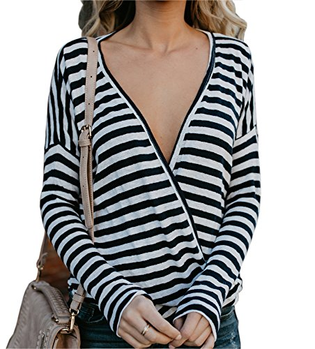 Stripe V-neck Tunic Top (SVALIY Women Stripe Long Sleeve Deep V Neck Loose Casual T Shirts Tops Blouse L)