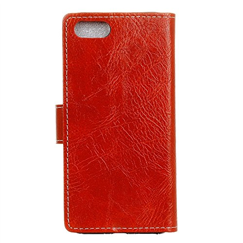 Funda iPhone 7 Moonmini® Blanco PU Leather Cuero Magnético Flip Bookstyle Billetera con Tapa para Tarjetas Protector Case para iPhone 7 rojo