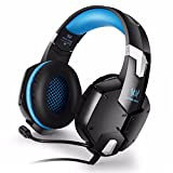 Feccoe KOTION EACH G1200 Gaming Headset 3.5mm Game Headphone Earphone Headband with Mic Stereo Bass for PS4 PC Computer Laptop Mobile Phones (Blue)