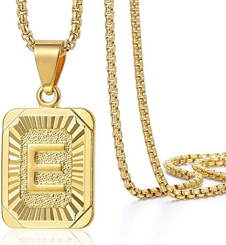 Trendsmax Initial A-Z Letter Pendant Necklace Mens Womens Capital Letter Yellow Gold Plated Stainless Steel Box Chain 22inch