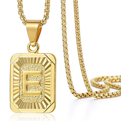 Trendsmax Initial Letter Pendant Necklace Mens Womens Capital Letter Yellow Gold Plated A Z Stainless Steel Box Chain…