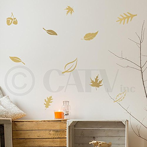 Set of 24 Fall Leaves wall saying vinyl lettering art decal quote sticker home decal (Metallic Gold) ()