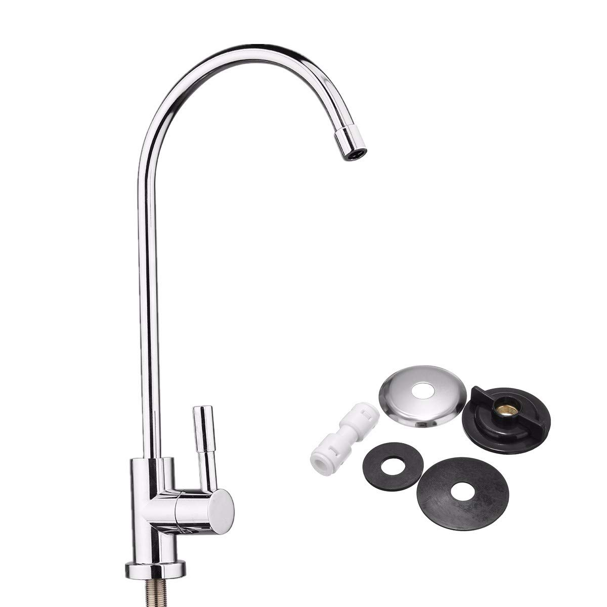 1/4 Inch Chrome Drinking RO Water Filter Faucet Finish Reverse Osmosis Sink Kitchen by Ologymart