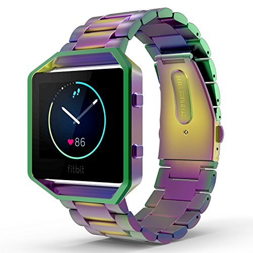 MoKo Fitbit Blaze Band , Universal Stainless Steel Watch Band Strap Bracelet with Spring Pin for for Fitbit Blaze Smart Fitness Watch, Frame NOT Included - Colorful by MoKo