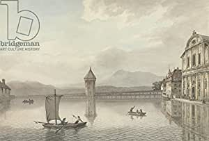 A View at Lucerne (Pen & Ink with W/C over Graphite on Paper) (283279), Alu-Dibond, 50 x 30 cm